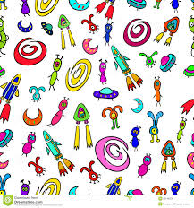 seamless pattern with space aliens and flying rockets spacecraft