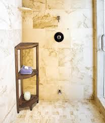 corner dark brown teak shower caddy with three racks on the corner