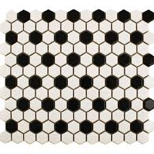 Small Bathroom With Black Hexagon by Black U0026 White Hexagon Tile Bathroom Floor With Delorean Grout