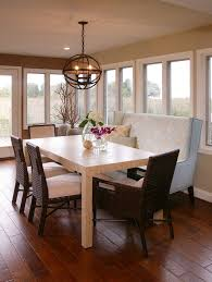 built in bench dining table dining room transitional with wood