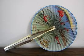 held paper fans vintage held fan with metal handle by jaspergoodwinvintage