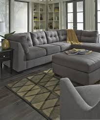 Benchcraft Furniture Maier Charcoal Fabric Raf Sectional Sofa By Ashley