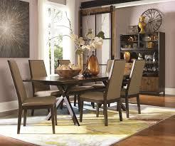 rectangular table with trestle bottom in hazelnut finish with