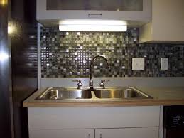 Stainless Steel Kitchen Backsplash by Small Kitchen Decoration Using Brown Grey Glass Mosaic