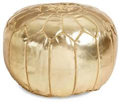 Gold Ottoman Moroccan Leather Pouf Gold Ottomans Living Room Furniture