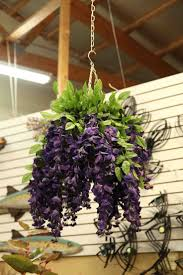 evergreen home decor faux hanging wisteria basket in purple evergreen at the lake of