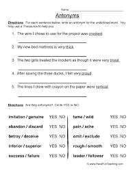 antonym worksheets have fun teaching