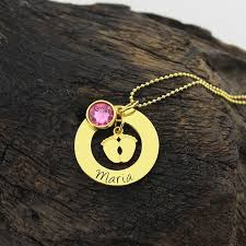 personalized gold necklace name baby necklace with birthstone gold color personalized