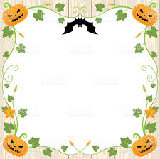 halloween pumpkin frame on wood background stock vector art