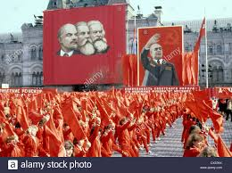 Red Flag Day Moscow Ussr May 1 1980 People Dressed In Red With Red Flags