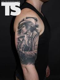 half sleeve cowboy portrait tattoo design tattoos book