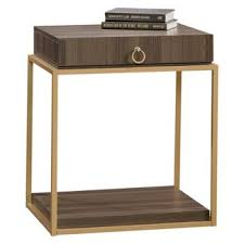 Sauder Nightstand Oak International Lux Night Stand With Open Drawer And Open Shelf