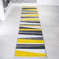 Modern Yellow Rug Modern Yellow Grey Striped Runner Rug Kukoon