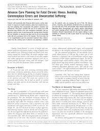 advance care planning for fatal chronic illness avoiding