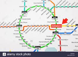 Network Map Japan Honshu Tokyo Akihabara Station Train Network Map Showing