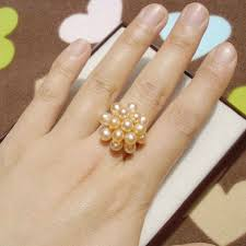 small fashion rings images Fashion pearl rings 3 4mm small rice pearl beads ring 100 natural jpg
