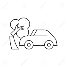car crash icon in thin outline style automotive accident incident