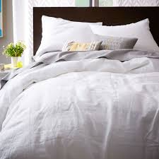 belgian flax linen duvet cover pillowcases white west elm uk