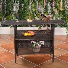 Mesh Patio Table by Costway Outdoor Rattan Wicker Bar Counter Table Shelves Garden