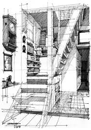 this interior sketch consists of shadow castings which is created