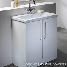 Freestanding Bathroom Furniture Designer Freestanding 700mm White Bathroom Vanity Unit Main Image