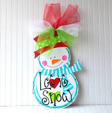 door hanger unfinished wood cutout snowman christmas decor