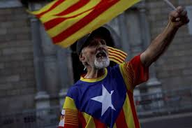 Barcelona Spain Flag Barcelona A Catalonia Independence Supporter Wearing The Estelada