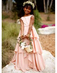 2017 new pretty blush pink flower dresses country style kids