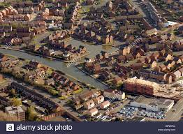 aerial view of canal side housing in tividale sandwell west