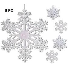 snowflake decorations large snowflakes set of 5 white glittered snowflakes