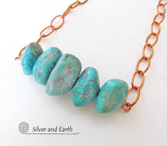 natural turquoise necklace images Chunky turquoise necklace on copper chain natural turquoise jpg