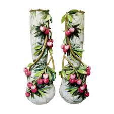 Italian Vase Pair Of Italian Majolica Vases With Cherries Signed Mollica On