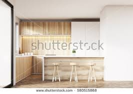 wooden furniture for kitchen front view kitchen interior light wooden stock illustration