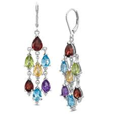 Chandelier Earrings Earrings Multi Semi Precious Pear Shaped Gemstone Chandelier Earrings In