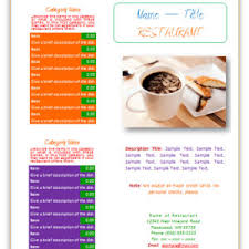 elegant two colored restaurant menu templates microsoft word
