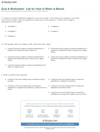 quiz u0026 worksheet lab for heat of water u0026 metals study com