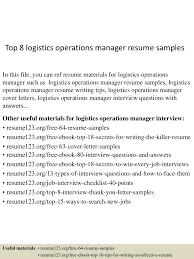 Resume Samples Director Operations by Top8logisticsoperationsmanagerresumesamples 150521074726 Lva1 App6891 Thumbnail 4 Jpg Cb U003d1432194499