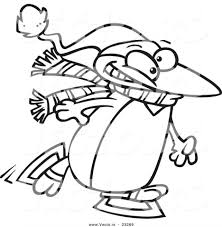 cartoon vector winter penguin ice skating coloring page outline