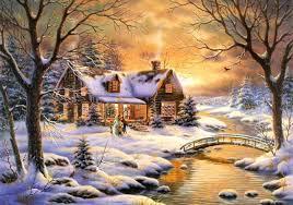 winter christmas cottagemas new year snowman paintings