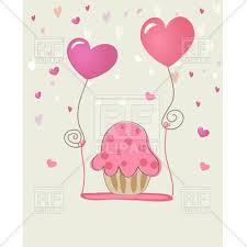 heart shaped balloons pink festive cupcake with heart shaped balloons on
