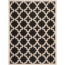 Safavieh Outdoor Rugs Safavieh Courtyard Black Beige 6 Ft 7 In X 9 Ft 6 In Indoor