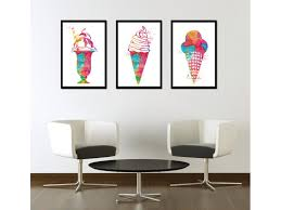 art ice cream watercolor print dessert painting ice cream poster
