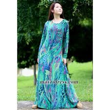 maxi dress long sleeves green peacock dress casual dress dress in