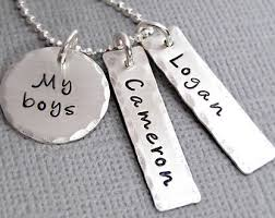 White Gold Personalized Necklace Mothers Jewelry Etsy