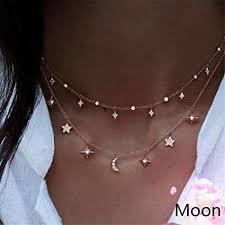 long chain choker necklace images Ch gold moon star choker necklace women girl lady long jpg