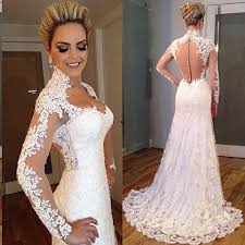 latest designs sweetheart lace long sleeves vintage wedding dress