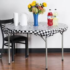 stay put table covers converting 37297 stay put 60 round black check plastic table cover