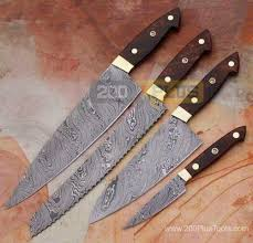 Steel Kitchen Knives Custom Damascus Steel Kitchen Knives Set Handmade
