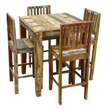 Reclaimed Wood Bar Table Rustic Reclaimed Wood High Bar Table Chair Set