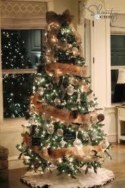 christmas tree decorating with burlap ribbon christmas